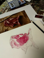 Photo of the day: 23.3.2018 (House Of Secrets Incorporated) Tags: photooftheday photooftheday2018 aphotoaday2018 dailyphoto dailyphoto2018 dailyphotography dailyphotography2018 dailyphotograph diy painting watercolour ink meat steak wip school paintingclass