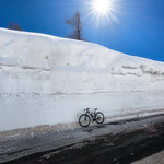 Bike at the top of the mountain pass Vrsic thumbnail