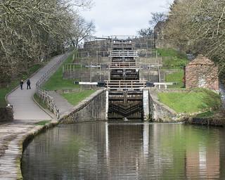 The five rise locks at Bingley