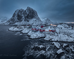 Arctic circle (Mika Laitinen) Tags: canon5dmarkiv europe hamnøy lofoten norway norwegiansea scandinavia cloud cold dawn landscape longexposure mountain nature ocean outdoors redcabin rock sea shore sky snow storm water wave winter nordland no