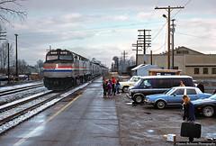 Anticipation (jamesbelmont) Tags: railroad railway train amtrak californiazephyr passenger provo utah emd f40ph snow rain weather children riders