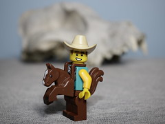 Home, home on the range, where the deer and the antelope play, where seldom is heard a discouraging word and the skies are not cloudy all day. (N.the.Kudzu) Tags: tabletop lego miniature cowboy animal skull canondslr lensbabyburnside35