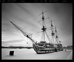 Frozen in (tsiklonaut) Tags: pentax 6x7 67 film analog analogue analogica analoog 120 roll medium format fuji fujifilm acros 100 black negro y blanco mustvalge negative st petersburg leningrad russia venemaa peterburg ship river ice frozen drumscan drum scan pmt scanner sailing boat restaurant restoran laev icy winter russian travel discover experience frigate blagodat grace фрегат благодать