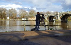 """How To Take A Bridge"" Lesson Number 5... (standhisround) Tags: photographer bridge richmonduponthames riverthames river people thamespath scenic water uk england cameraman clouds sky trees"
