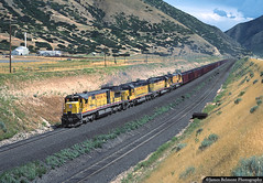 Utah Railway Coal Train (jamesbelmont) Tags: utahrailway unionpacific coal ge u30c c307 emd sd402 gomex spanishforkcanyon utah railway