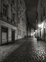 Postcard from prague (radimersky) Tags: praga prague prag czechrepublic czechy republika czeska street ulica night noc lights światła bruk wet blackandwhite blackwhite bw samsung7s smartphone historical city center miasto cobbles cobbled dark postcard rainy vkotcích monochrome buildings building road streetphotography