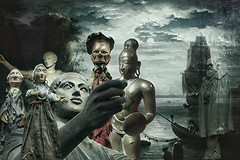 meeting of strange fellows (Bobinstow2010) Tags: strange people sea cove harbour arty topaz photoshop ghost
