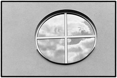 Sniper Alert (Thomas Listl) Tags: thomaslistl blackandwhite biancoenegro noiretblanc filmphotography analog minoltax700 kodak trix window wall graphical geometry sky reflection mirror clouds frames lines circle