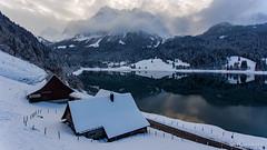 Winter mood (Silvan Bachmann) Tags: switzerland swiss suisse wägital wägitalersee schwyz lake winter reflection cold snow cottages road cloudy drone dji phantom nature landscape cozy comfortable light