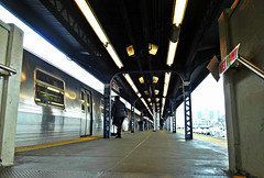 Wet Paint (Robert S. Photography) Tags: subway elevated sign people rain lights brooklyn nyc station platform sony dscwx150 iso100 april 2018