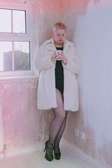 160.366 Fur Coat Black Knickers (HelenHates Peas) Tags: selfportrait selfie me furcoat heels fetish coffeebreak pinkhair tattoos