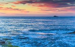 Sunrise Seascape with Boats (Merrillie) Tags: daybreak sunrise nature dawn boat coast water morning sea newsouthwales rocks pearlbeach nsw rocky waterscape ocean earlymorning landscape waves coastal clouds outdoors seascape australia centralcoast sky seaside