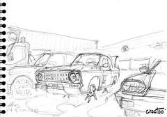 Aiffres, devant l'atelier, une Ford Cortina - 1968, un oeil de Jaguar (Croctoo) Tags: croctoo croctoofr croquis crayon mécanique poitou
