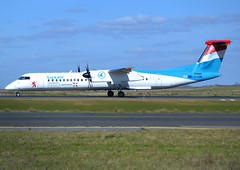 LX-LGN, De Havilland Canada DHC-8-402Q Dash 8, c/n 4426, Luxair, CDG/LFPG 2018-03-14, taxiway Bravo-Loop. (alaindurandpatrick) Tags: lxlgn cn4426 dhc dehavillandcanada dhc8 dehavillandcanadadhc8 dehavillandcanadadash8 airliners turbopropairliners propellerdrivenairliners propeliners lg lgn luxair airlines cdg lfpg parisroissycdg airports aviationphotography
