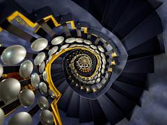 And That's Magic (Sean Batten) Tags: themagiccircle london england unitedkingdom gb nikon d800 1414 staircase spiral euston blue yellow city urban magic