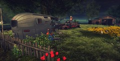 oh well never mind .. doesnt matter - skull creek (Shantell90) Tags: secondlife sl landscape yard flowers girl dogs grass trees river
