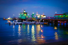 Santa Catalina Island Pier - Textured (byron bauer) Tags: byronbauer avalon santa catalina island california pier dock pacific ocean sea water reflections night dusk sky clouds boats lights ripples waves texture painterly summer evening twilight sunset deep blue colorful