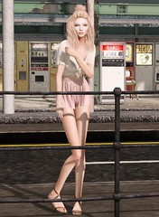 Stand and Waiting (テイラー) Tags: secondlife navycopper pixicat friday fri soy waiting standing shorts croptop blonde sandals mesh taylorwassep