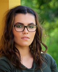 Jewel on the Porch (The Good Brat) Tags: colorado us model outdoor portrait female woman pretty gorgeous brunette eyeglasses bokeh closeup