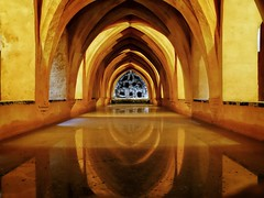 Real Alcazar of Sevilla, banos (bertrandpoux) Tags: sevilla andalucia espana realalcazar bath reflection
