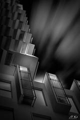 Sainte_cécile_1117-21-2 (Mich.Ka) Tags: architecture balcon blackandwhite blackandwhitevision bâtiment dark façade hautsdefrance immeuble light ligne line lumière mur pasdecalais perspective town urbain ville