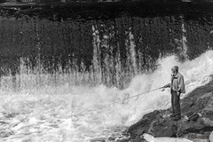 Fisherman (guysamsonphoto) Tags: guysamson nikond600 nikon70200f4 fisherman pêcheur rivière rivièrenicolet rivièreduquébec nb noiretblanc monochrome victo victoriaville