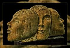 Past - Present -  Future Stone Sculpture by Christine Püttmann (scorpion (13)) Tags: stone sculpture by christine püttmann castle river wupper excursion visit photoart color creative frame things