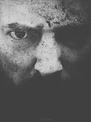 La rage (erictrehet) Tags: nikon nikkor noir blanc black d7000 35 18 portrait autoportrait texture eyes homme personne dark monochrome visage