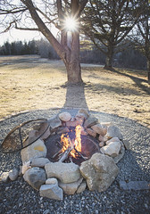 We finally got to use the fire-pit we built last month! Looking forward to summer fires out here on the patio :) - Tenants Harbor Maine (Jonmikel & Kat-YSNP) Tags: maine tenantsharbor me stgeorge oldwoodsfarm stgeorgepeninsula midcoastmaine spring firepit fire sunset field backyard patio trees lawn
