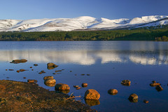 Cairngorm Reflections (Keith (foggybummer)) Tags: aviemore cairngorms loch lochmorlich queensforest scotald beautiful landscape mountains reflections rocks snowy spring