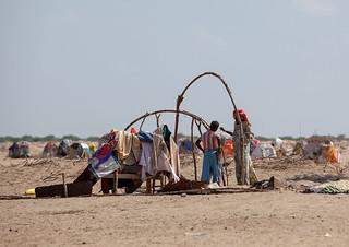 Family building a somali hut called aqal in the desert, Awdal region, Lughaya, Somaliland