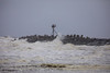 Waves crash against the Manasquan Inlet rocks during a windy day on the Jersey Shore, 4/15/2018. (apardavila) Tags: atlanticocean jerseyshore manasquan manasquanbeach manasquaninlet beach ocean rocks waves