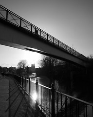 854 (a.pierre4840) Tags: olympus omd em5 panasonic lumix 14mm f25 bridge shadows silhouette canal reading berkshire england reflection lensflare composition reflections kennetavon lines angles