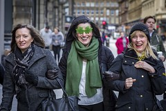 Luck of the Irish (Leanne Boulton) Tags: people portrait groupshot urban street candid spontaneous portraiture streetphotography candidstreetphotography streetportrait candidportrait eyecontact candideyecontact streetlife woman women girls three face eyes expression laughing smile smiling fun enjoyment celebration stpatricksday irish green clover glasses tone texture detail depthoffield bokeh naturallight outdoor light shade city scene human life living humanity society culture lifestyle canon canon5d 5dmkiii 70mm ef2470mmf28liiusm color colour glasgow scotland uk photojournalism reportage