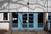 Blaue Tür, Lampe, Schatten (tom-schulz) Tags: x100f rawtherapee urban berlin thomasschulz wand lampe tür blau schatten baum
