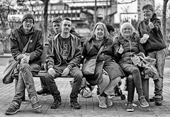 Benchlife (Mick Steff) Tags: manchester street urban group talking bench man women portrait blackandwhite mono monochrome people