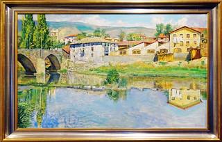 1948 pintura Playa de Rochapea de Jesus Martinez  Basiano Museo de Navarra Pamplona