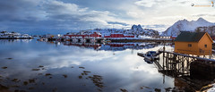 Calm in the Tjuvvika (dieLeuchtturms) Tags: schnee norwegen nordland winter europa pier lofoten atlantik panorama vestvågøya fjord vedutismo wasserspiegelung 21x9 hafen steine meer 235x100 7x3 anlegestelle europe harbour norge norway waterreflections mooring reflection sea snow waterreflection no
