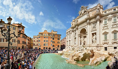 Trevi Fountain Panorama (jamiegaquinn) Tags: rome trevi fountain trevifountain panorama italy crowds tourists touristy nicolasalvi