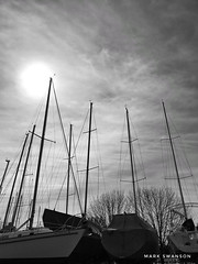 Masts (mswan777) Tags: mobile iphone iphoneography apple white black monochrome nature outdoor stjoseph winter marina michigan tall up cloud sun sky mast sailboat
