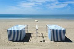 Two beach tents (Jan van der Wolf) Tags:  map174302ve seascape seaside zee labaule beach beachhuts symmetric symmetry people zand sand shadow shadowplay shadows schaduw schaduwspel sea dissymmetry beachtent