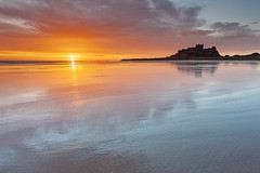Reflecting on Sunrise (Carl Mick) Tags: robferrol landscape seascape wetsands reflections sunrise northumberland castle bamburgh ngc
