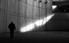 Touched by the Light (elgunto) Tags: museum barcelona cosmocaixa light people blackwhite monochrome silhouette contrast shadows sonya7 tamron287528 laea4 adapter zoomlens