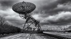 Look back in time.......... (David Feuerhelm) Tags: blackandwhite monochrome bw noiretblanc schwarzundweiss contrast wideangle radiotelescope clouds radar rails mullard observatory cambridgeshire nikon d750 2470mmf28