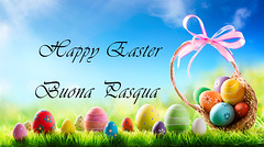 Buona Pasqua a tutti / Happy Easter to everybody (celestino2011) Tags: easter basket eggs grass green color season decoration colorful spring holiday card nobody traditional day happy nature sunny meadow celebration copyspace greeting sky ribbon lawn april multicolored seasonal tradition
