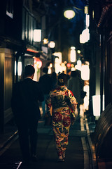 Kyoto Nights (Fab Photographe) Tags: kyoto japan asia kimono nightphotography mysterious streetlights two lovers zeiss ze aposonnart2135 general people availablelight