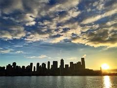 Seattle sunrise (jeffroeast) Tags: boardwalk cityscape downtown summer outdoors nopeople landscape view pugetsound water clouds sun skyscrapers buildings city washington pnw ferry commute sunrise skyline seattle
