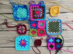 An afternoon's progress on the nine future five-inch crochet squares (crochetbug13) Tags: crochet crocheted crocheting crochetbug crochetsquares grannysquares crochetblanket crochetafghan crochetthrow