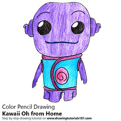 Kawaii Oh from Home (drawingtutorials101.com) Tags: kawaii oh from home character characters how draw color pencil drawing pencils drawings with