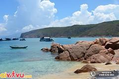 Hòn Khô - Quy Nhơn (lthuong2608) Tags: đạidương biển thuyền núi tảngđá bầutrời câycối